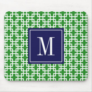 Girly Green & Navy Squares Pattern Custom Mouse Pad
