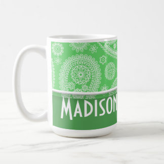 Girly Green Paisley Classic White Coffee Mug