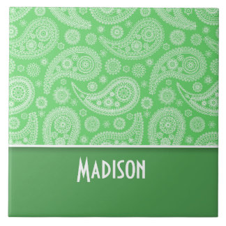 Girly Green Paisley Large Square Tile