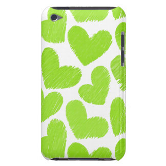 Girly green pastel love hearts pattern barely there iPod cover