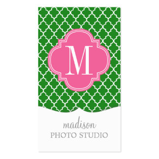 Girly Green & Pink Moroccan Tiles Monogram Business Card