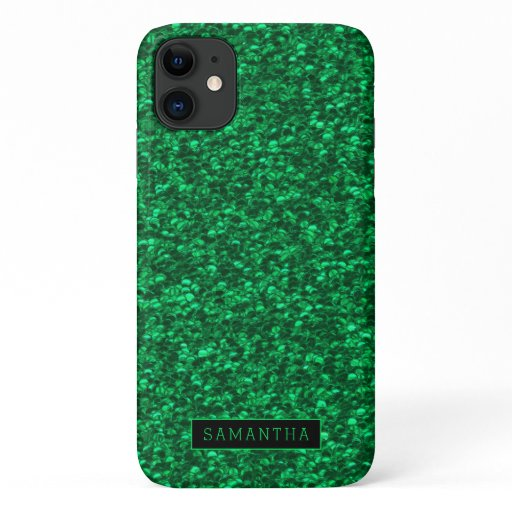 Girly Green Sparkle Sequins Monogram iPhone 11 Case