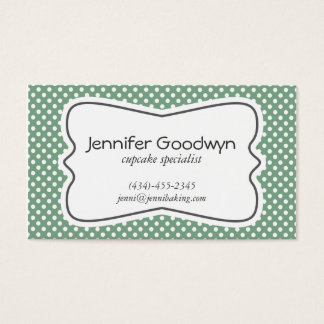 Girly Green White Polka Dots Business Card
