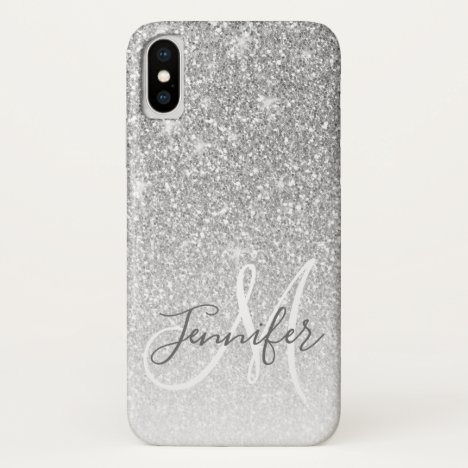 Girly Grey Silver Glitter Sparkle Monogram Name iPhone X Case
