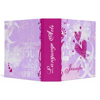 Girly Grunge Personalized School Binder binder