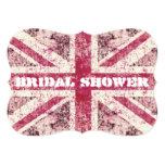 Girly grunge Union Jack british bride 5x7 Paper Invitation Card