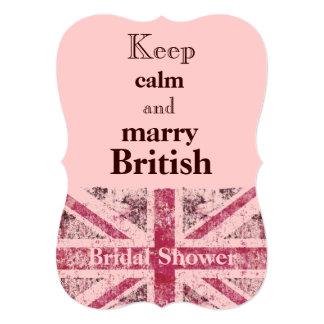 Girly grunge Union Jack british bride Card