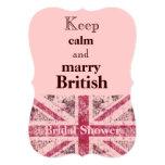 Girly grunge Union Jack british bride Personalized Invite