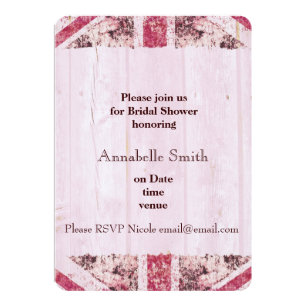 girly grunge union jack british bride invitation