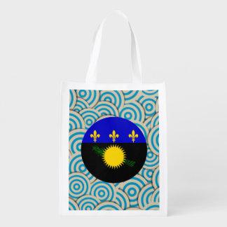 Girly Guadeloupean Flag Gift Reusable Grocery Bag