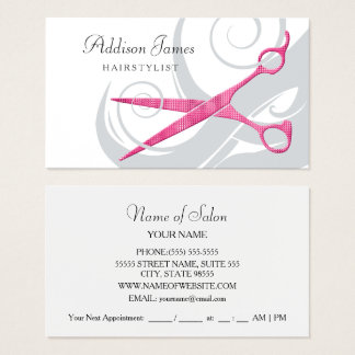 Girly Hairstylist Glitzy Pink Scissors and Curls Business Card