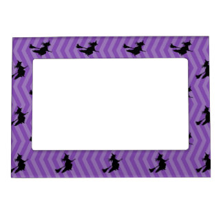 Girly Halloween Witch Pattern Magnetic Picture Frame