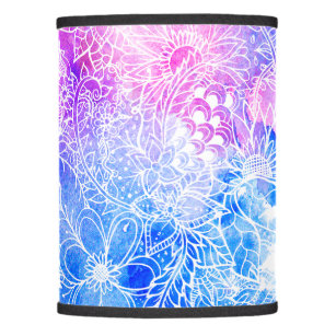 Girly lamp shades zazzle girly hand drawn floral pink blue watercolor lamp shade audiocablefo