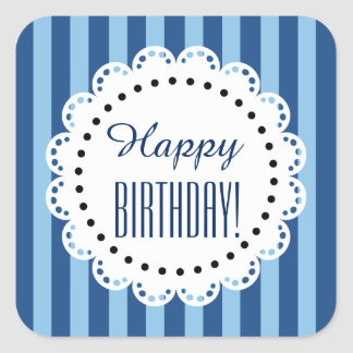 Girly Happy Birthday HUES OF BLUE Stripes B8 Square Stickers