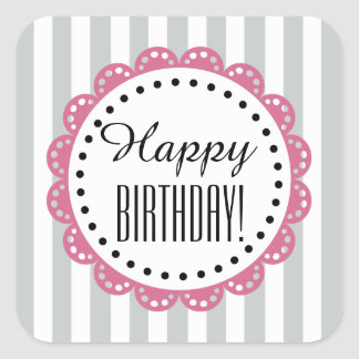 Girly Happy Birthday SILVER Stripes PINK Lace B01 Square Sticker