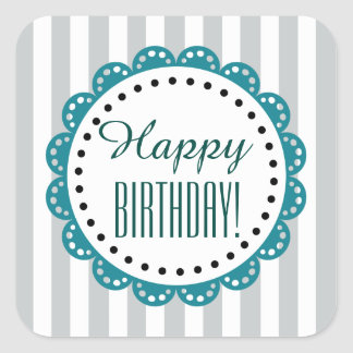 Girly Happy Birthday SILVER Stripes TEAL Lace B6 Square Stickers