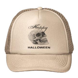 Girly Happy Halloween vintage skull graphic sketch Trucker Hat