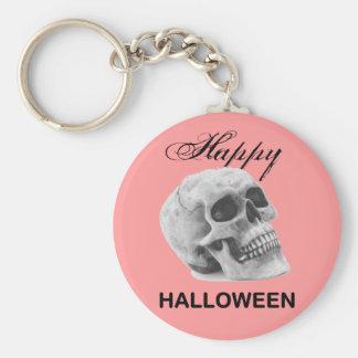 Girly Happy Halloween vintage skull graphic sketch Basic Round Button Keychain