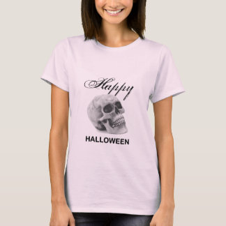 Girly Happy Halloween vintage skull graphic sketch T-Shirt