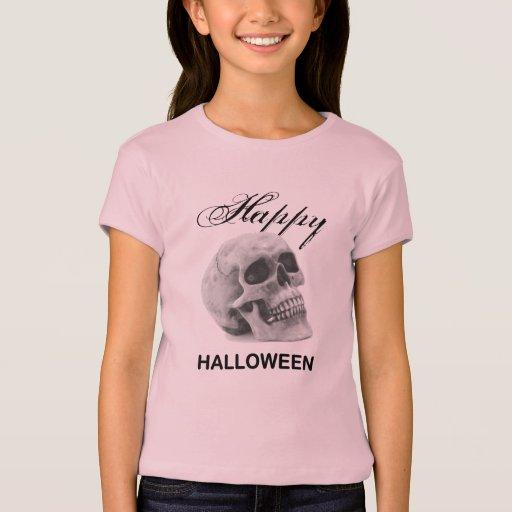Girly Happy Halloween vintage skull graphic sketch T-Shirt