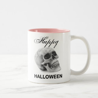 Girly Happy Halloween vintage skull graphic sketch Two-Tone Coffee Mug