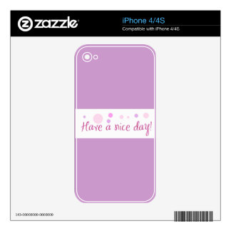 GIRLY HAVE A NICE DAY POLKA DOTS EXPRESSIONS POLIT iPhone 4 SKIN
