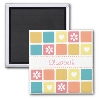 Girly Heart Square Pattern Retro Daisy Flowers 2 Inch Square Magnet