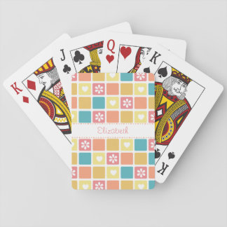 Girly Heart Square Pattern Retro Daisy Flowers Playing Cards