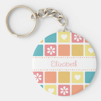 Girly Heart Squares Retro Daisy Flowers and Name Basic Round Button Keychain