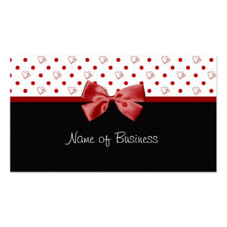Girly Hearts and Polka Dots Red Ribbon Double-Sided Standard Business Cards (Pack Of 100)