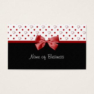 Girly Hearts and Polka Dots Red Ribbon Business Card