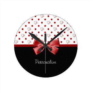 Girly Hearts and Polka Dots With Name Round Clocks