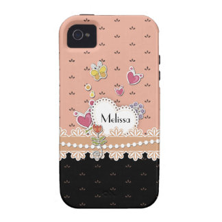 Girly Hearts Personalized iPhone 4s Case Case-Mate iPhone 4 Covers