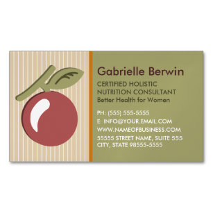 Whole food nutrition business cards templates zazzle girly holistic nutrition consultant women health business card magnet reheart Image collections