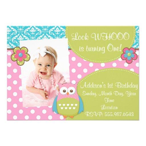 Girly Hoot Owl Design Birthday Invitation
