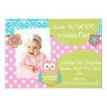 Girly Hoot Owl Design Birthday Invitation at Zazzle