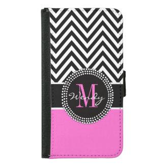 Girly Hot Pink and Black Chevron Monogram