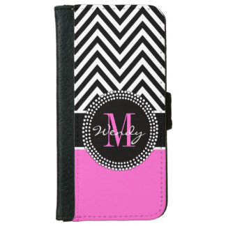 Girly Hot Pink and Black Chevron Monogram Wallet Phone Case For iPhone 6/6s