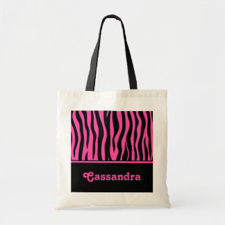 Girly hot pink and black zebra stripes tote bag