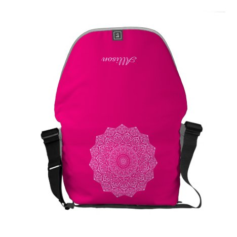 Girly Hot Pink and Blush Mandala Small Messenger Bag