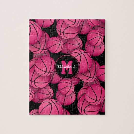 Girly hot pink basketballs pattern monogrammed jigsaw puzzle