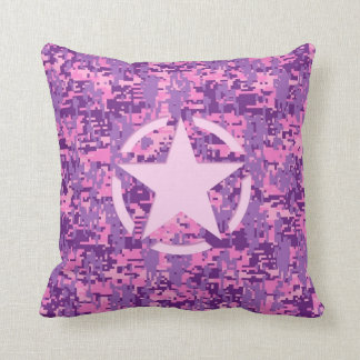 Girly Hot Pink Digital Camouflage Camo Pillow