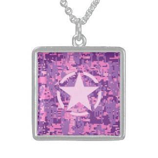 Girly Hot Pink Digital Camouflage Camo Sterling Silver Necklace