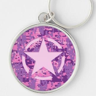 Girly Hot Pink Digital Camouflage Decor Keychain