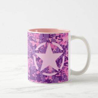 Girly Hot Pink Digital Camouflage Decor Two-Tone Coffee Mug