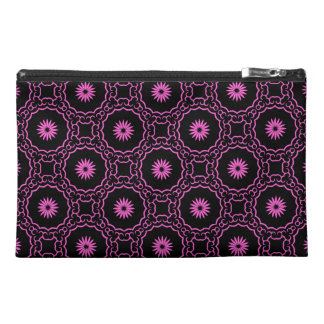 Girly hot pink flowers on black travel accessories bag