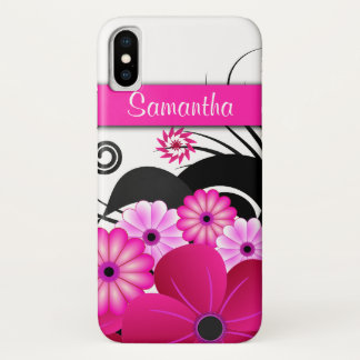 Girly Hot Pink Fuchsia Floral Hibiscus Flowers iPhone X Case