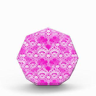 Girly Hot Pink Fuchsia White Lace Damask Awards