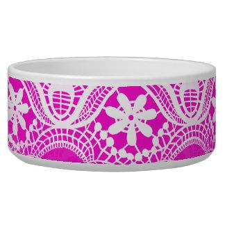 Girly Hot Pink Fuchsia White Lace Damask Bowl