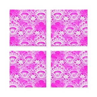 Girly Hot Pink Fuchsia White Lace Damask Canvas Print